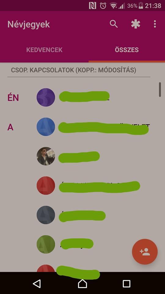 Névjegy exportálás (Android) - 1. lépés