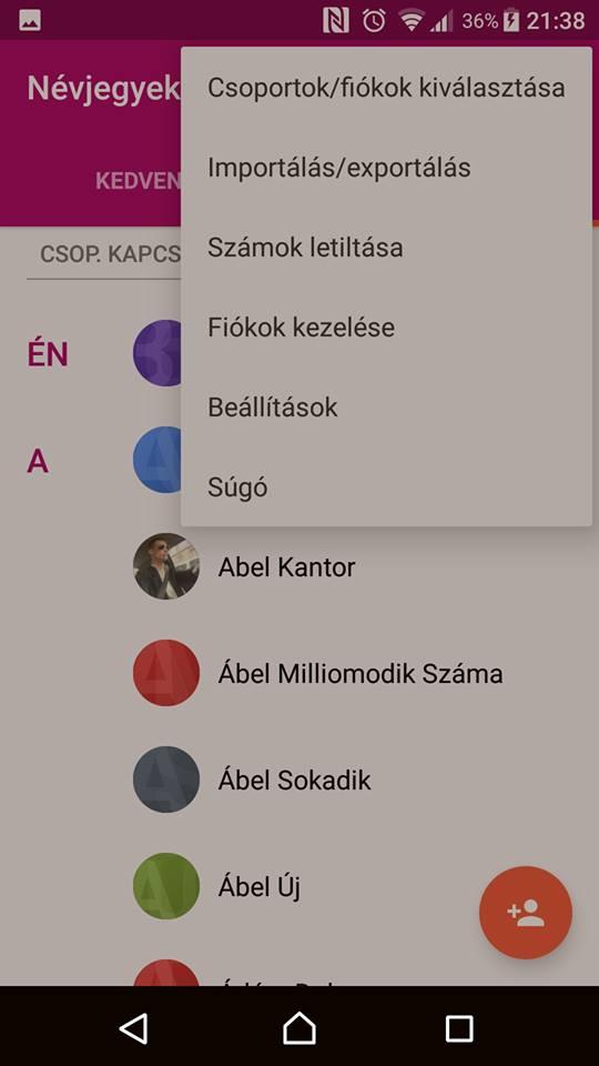 Névjegy exportálás (Android) - 2. lépés