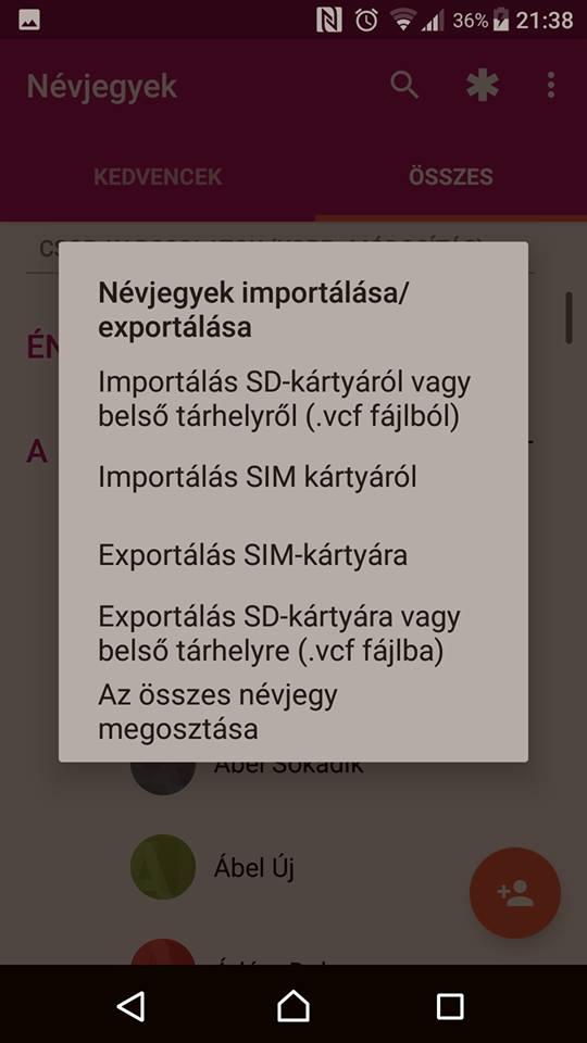 Névjegy exportálás (Android) - 3. lépés